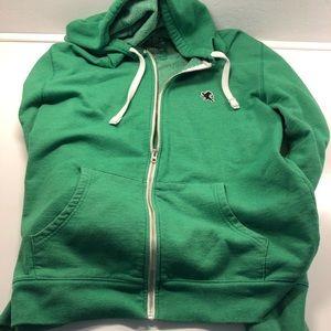 Mens XL Green Express zip up hoodie w/nvy blu logo